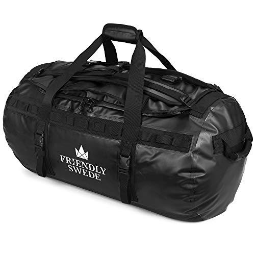 The Friendly Swede Wasserfeste Reisetasche Duffle Bag Rucksack - 30L / 60L / 90L - Seesack, Sporttasche Duffel Dry Bag mit Rucksackfunktion - SANDHAMN (Schwarz, 90L)