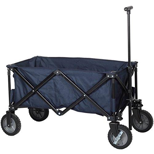 Campart HC-0910 klappbarer Strandwagen/ Bollerwagen - 70 Kilogramm Belastbarkeit - Blau mit Tasche