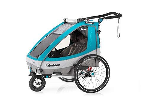 Qeridoo Sportrex2 (2020/2021) Fahrradanhänger 2 Kinder, einstellbare Federung - Petrol