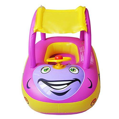 TOAOB Schwimmring Kleinkinder Schwimmhilfe Auto Form Schwimmsitz Baby Sicherheitsring mit Baldachin für 0-3 Jahre