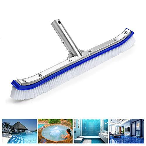 VABNEER Poolreinigung Reinigungsbürste Poolbürste 18 Zoll mit Aluminiumgriff und verstärkter Aluminium Rückseite für Poolwand und Poolboden