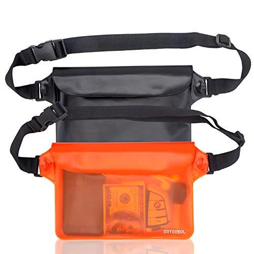 arteesol Wasserdichte Tasche Gürteltasche Strandtasche mit verstellbarem Hüftgurt Wasserdichte Beutel Bauchtasche Handyhülle Schutzhülle Strandtasche für Wassersport Strandschwimmen Bootfahren[2 Pack]