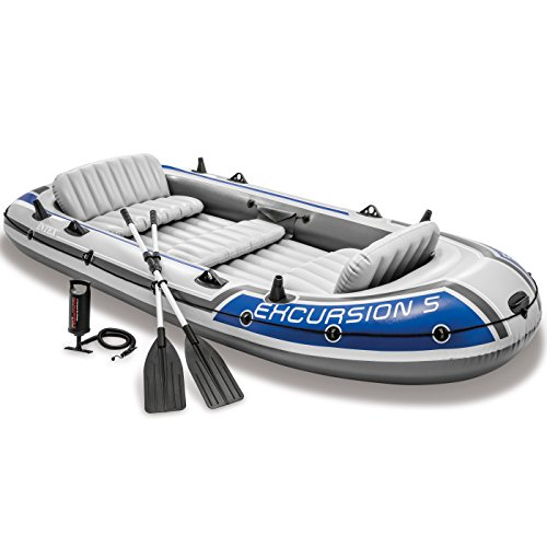 Intex Excursion 5 Inflatable boat set with aluminum oars and air pump with high output