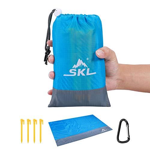 Stranddecke Picknickdecke Outdoor Wandern Campingdecke Picknick Matte sandfrei wasserdicht mit Tragbar Tasche leicht kompakt für Outdoor Reisen Camping Wandern (Blau, 210x200)