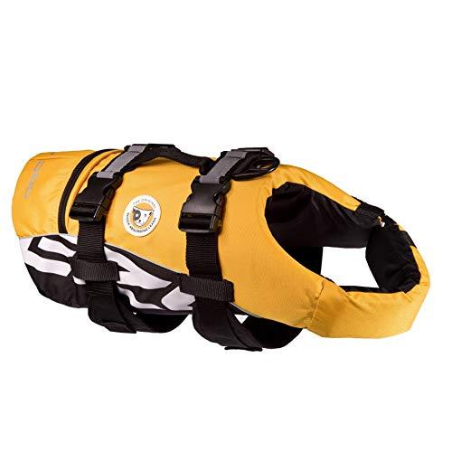 EzyDog DFD Schwimmweste Hund - Hundeschwimmweste - Schwimmwesten für Hunde - Größenverstellbar mit Griff und Reflektoren (XS, Gelb)