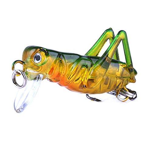 Angelköder, bionischer Kunststoff, Insekten-Heuschrecke, Fliegende Wobblerköder, Barschhaken, Farbe 5, 5 Stück