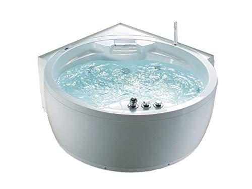 Whirlpool Badewanne Florenz mit 14 Massage Düsen + Heizung + Ozon Desinfektion + Beleuchtung / Licht + Wasserfall + Radio - Eckwanne Sprudelbad