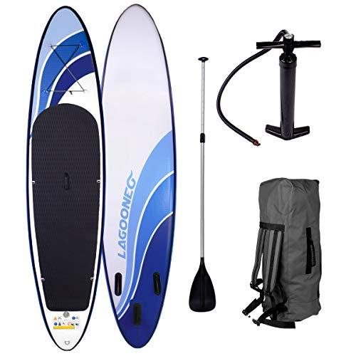 BRAST SUP Board Stand up Paddle Paddling Glider 300x76x15cm aufblasbar Alu-Paddel Hochdruck-Pumpe Rucksack Kick-Pad bis 150KG gewebtes Drop Stitch