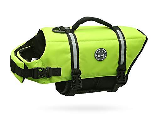 VIVAGLORY Schwimmweste für Hunde Ripstop & Reflektierende, Größenverstellbar mit Starkem Auftrieb und Rettungsgriff zum Schwimmen, Bootfahren und Kanufahren, Neon-Gelb, Größe M