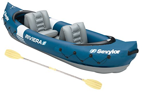Sevylor Kanu aufblasbar Riviera Faltkajak, 2 Personen, Kanadier inkl. Paddel, 312 x 92 cm