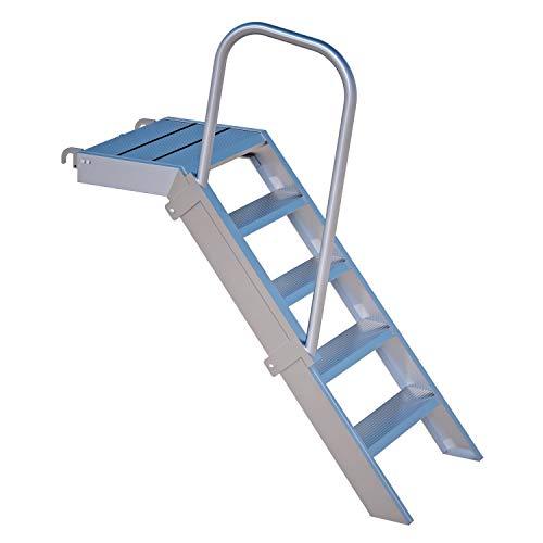 Alu Podest-Treppe Rux Ringscaff 1 m, mit Aufstiegshilfe einseitig
