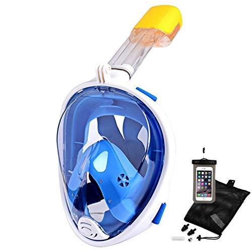 Churidy Schnorchelmaske Vollmaske Tauchmaske Vollgesichtsmaske Tauchermaske mit 180° Sichtfeld und Kamerahaltung, Dichtung aus Silikon Anti-Fog und Anti-Leck Technologie für Erwachsene und Kinder