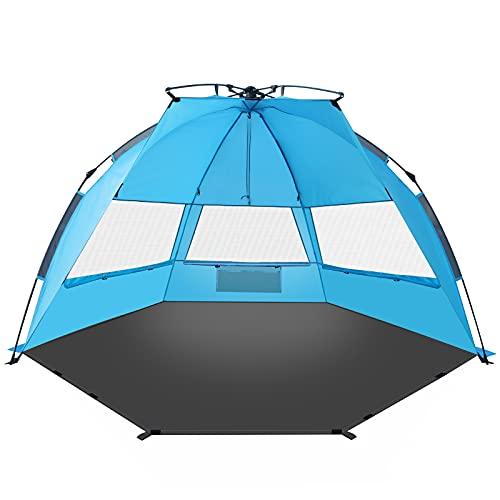 TAGVO Pop Up Strandmuschel, Schnell Aufzubauender Sonnenschutz, Quick Bay Strand-Zelt mit UV-Schutz, Quick Shell Strandmuschel mit Vordertür, Sonnenschirm Strandzelt Mesh Bildschirm Windows