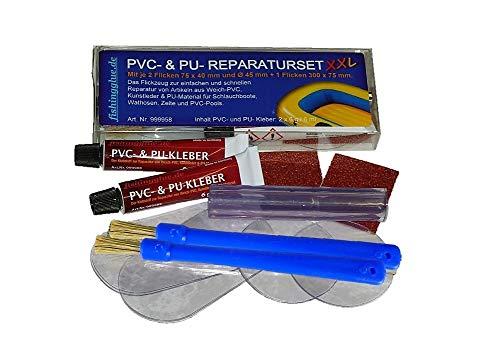 fishingglue.de PVC & PU Reparatur Set XXL, Flickzeug für Schlauchboot Zelt Pool Gewebe Planen Markise Isomatte Luftmatratze aus Vinyl, PVC, Polyurethan