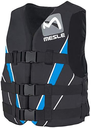 MESLE Schwimmweste V210, XS-XL, blau-schwarz, 50-N Auftriebsweste Prallschutz Schwimmhilfe, für Erwachsene und Jugendliche, Wasserski Wakeboard Impact-Vest, Nylon, Boot Jet-Ski Yacht