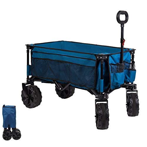 Timber Ridge Bollerwagen faltbar Handwagen klappbar Faltwagen Transportwagen Strandwagen Gartenwagen groß für alle Gelände mit Seitentasche Getränkehalter bis 80kg Tragkraft (Rot) (Blau)