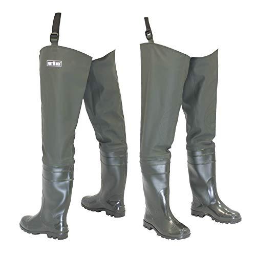 FortMen Watstiefel Herren Anglerhose mit Stiefel wasserdichte Wathose Größe Gr. 46 Lange Watthosen Gummistiefel Fishing Boots Angeln