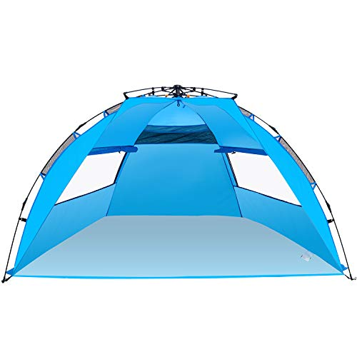 Wesimplelife Strandmuschel Quick Bay Strand-Zelt mit UV 50 Sonnenschutz für 4-5 Personen Familienzelt Campingzelt für Outdoor Sport Picknick Wandern Reisen Strand