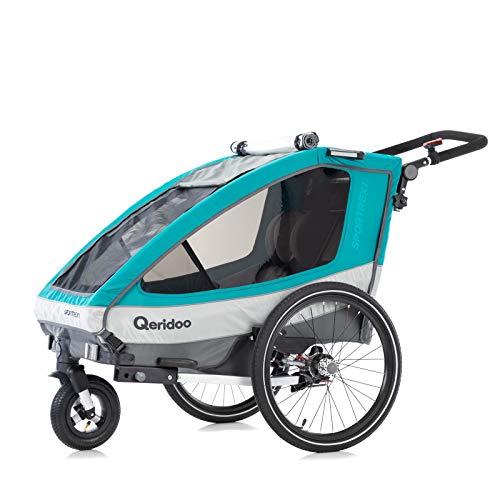 Qeridoo Kinderfahrradanhänger Sportrex1 (2019), Kinderanhänger - Aquamarin