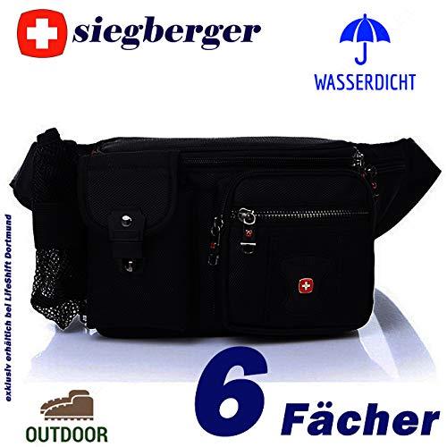 Siegberger Hüfttasche Bauchtasche mit 6 Fächern Handyfach Flaschennetz wasserdicht - ideal für Reise, Urlaub, Wanderung