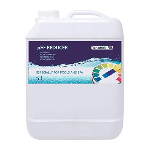 Nortembio Pool pH- Minus 5 L, Organischer pH- Senker für Schwimmbad und Spa. Erhöhung der Wasserqualität, pH-Regulierung, Vorteilhaft für die Gesundheit. Entwickelt in Deutschland.