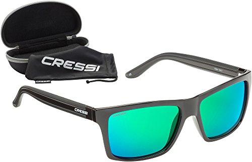 Cressi Unisex-Erwachsener Rio Sunglasses Premium Sport Sonnenbrille Polarisierte 100% UV-Schutz, Brillengestell Schwarz - Grün Linsen, Einheitsgröße