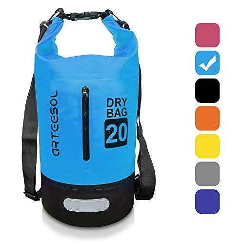 arteesol Dry Bag - 5L/10L /20L /30L wasserdichte Tasche/Packsack, Dry Tasche, Tragbarer Trockensack mit Verstellbarem Schultergurt Geeignet für Kajak, Boot, Kanufahren/Angeln/Rafting/Schwimmen