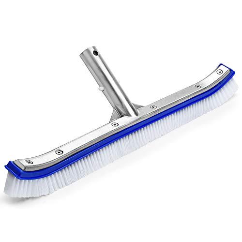 VABNEER Poolbürste Poolreinigung Reinigungsbürste 18 Zoll mit Aluminiumgriff und verstärkter Aluminium Rückseite für Poolwand und Poolboden (Blau)