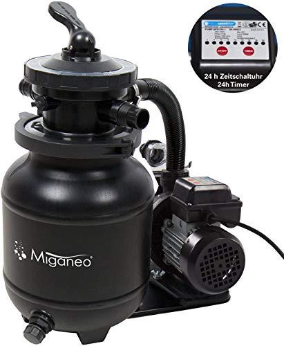 Miganeo Speed Clean 7000 Sandfilter mit Zeitschaltuhr für Pool bis 22m³ selbstsaugend (Schwarz)