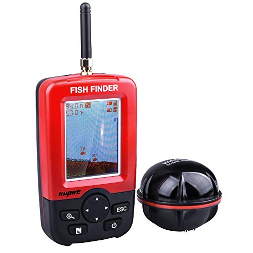 Kupet Fish Finder Sonar Underwater Waterproof Electronic Wireless Portable Fish Finder Depth Fish Finder with Colored LCD Display