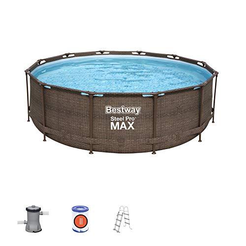 Bestway Power Steel Deluxe 366x100 cm, Frame Pool rund mit stabilem Stahlrahmen im Komplett-Set, rattan