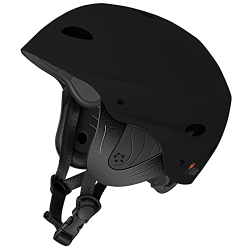 Vihir BMX Helm Wakeboard Helm Skaterhelm Fahrradhelm Herren Damen Jungs & Kinderhelm Wassersport Helm mit Ohrenschützer ABS+Eva, Schwarz/M 54-59CM