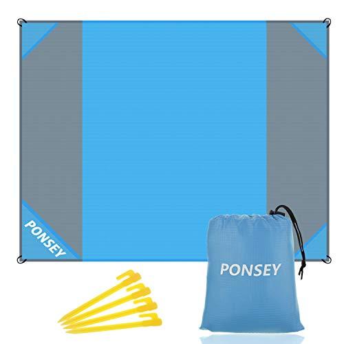 Ponsey Picknickdecke 200 x 200 cm Stranddecke Strandmatte wasserdichte Strandtuch sandabweisende Tragbare Camingmatte