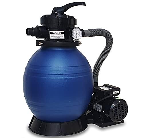 DMS® Sandfilter Sandfilteranlage Sandfilter System, Poolfilter 10200 l/h Filteranlage Filterkessel für Pool Schwimmbecken 4-Wege Ventil, einfache Steuerung Filter bis zu 20Kg Sand SFA-01