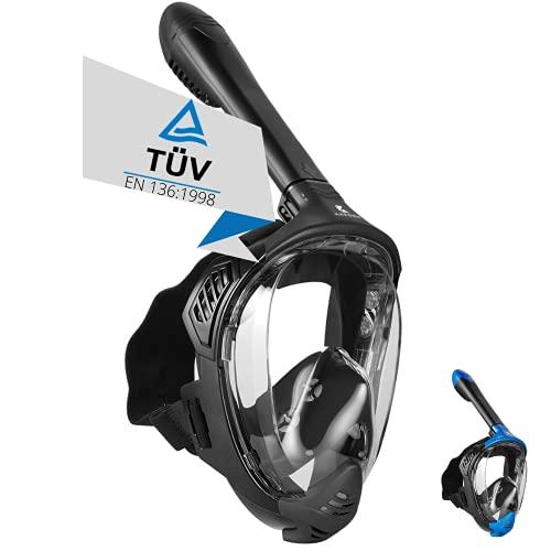 Khroom® TÜV geprüfte CO2 sichere Schnorchelmaske Vollmaske Modell 2021 -Tauchmaske für Erwachsene und Kinder | Vollgesichtsmaske zum Schnorcheln (Matt Schwarz, S/M)