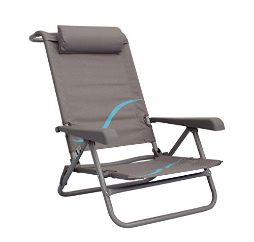 Meerweh Erwachsene Campingstuhl Strandstuhl mit verstellbarer Rückenlehne und Kopfpolster Klappstuhl Anglerstuhl, grau/blau, XXL, 20032