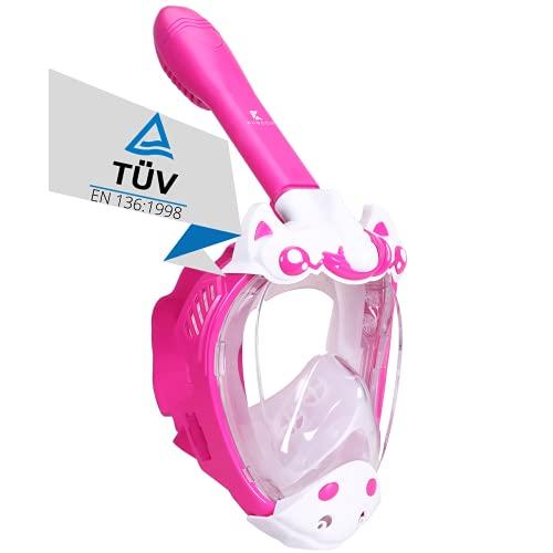 Khroom® TÜV geprüfte CO2 sichere Schnorchelmaske Vollmaske Modell 2021 -Tauchmaske für Kinder | Vollgesichtsmaske zum Schnorcheln - Einhorn