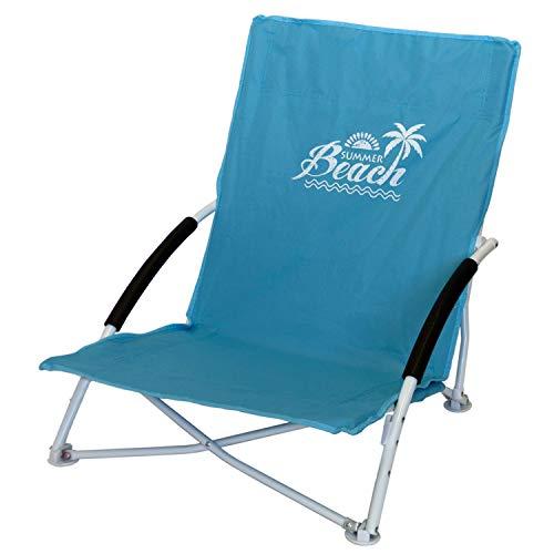 Strandstuhl Campingstuhl Summer-Beach inkl. Transporttasche Beachchair Klappstuhl Gartenstuhl Campingmöbel Gartenmöbel, Farbe:Blau