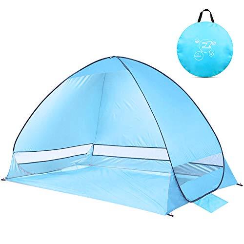 NOTENS Strandmuschel, Pop up Strandzelt Shelter für 2-4 Personen Portable Beach Zelt, Outdoor Tragbar Wurfzelt UV-Schutz, Strand Muschel Zelt für Familie BBQ Strand Garten Camping Blau