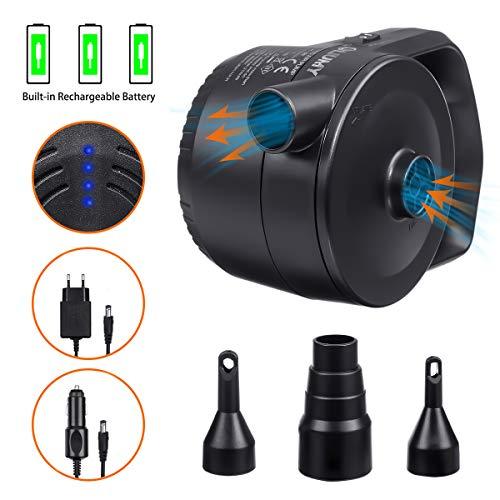 LIUMY 2 in 1 Akku-Elektrische Luftpumpe, Elektropumpe kann Strom speichern, Zwei Lademethoden mit 220V Ladegerät & 12V USB Auto-Ladekabel, 330L/MIN 3 Ventil-Aufsätzen für Luftmatratzen, Schlauchboote