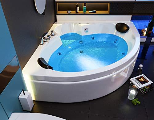 Oimex 2 Personen Whirlpool Badewanne'Italian' mit LED exklusiv 150 x 61,5 x 150 cm inklusive Armaturen, Schürze und Gestell
