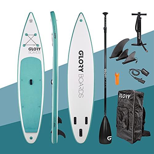 Stand up Paddling Board aufblasbar in Premium Qualität – Inflatable SUP bis 180kg Tragkraft - komplettes SUP Set inkl. Paddel, Pumpe, Rucksack - leichtes Stand up Paddle Board – Stabile und Robust