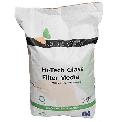 Nature Works Hi-Tech Filterglas (20 kg) für Pool-Sandfilteranlagen, aus naturreinem Glas, kristallweiß, umweltschonende Alternative zu Sand, Ø Körnung: 0,8 mm