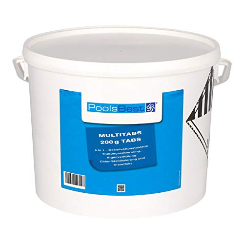 POOLSBEST 10 kg Chlor Multitabs 5 in 1 200 g Chlortabletten für Pool - Chlor wirkt schnell gegen Bakterien, Pilze und Viren im Pool