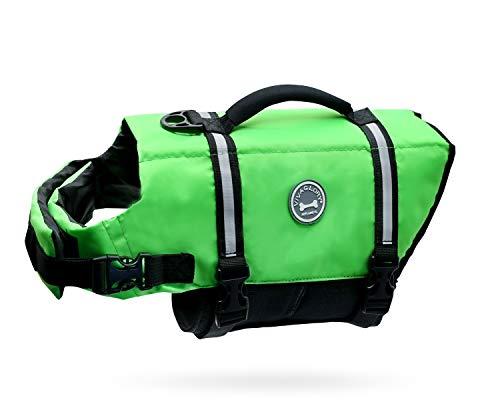 VIVAGLORY Hundeschwimmweste Ripstop & Reflektierende, Größenverstellbar mit Starkem Auftrieb und Rettungsgriff zum Schwimmen, Bootfahren und Kanufahren, Neon-Grün, Größe M