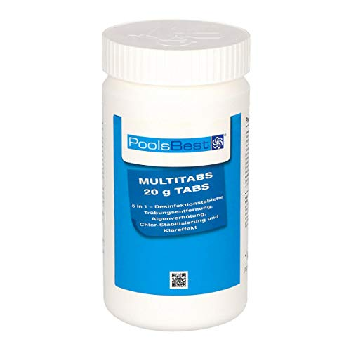 POOLSBEST 1 kg Mini - Multitabs 5 in 1-20 g Tabletten - Mini Chlortabletten für Pool - Chlor wirkt schnell gegen Bakterien, Pilze und Viren im Pool