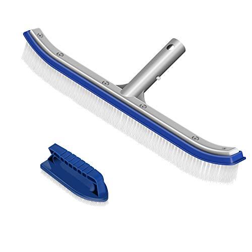 BluePower Poolreinigung Reinigungsbürste Poolbürste 18 Zoll mit Aluminiumgriff und verstärkter Aluminium & EZ-Clip Rückseite für Poolwand und Poolboden, langlebig korrosionsbeständiger (2 Pack)
