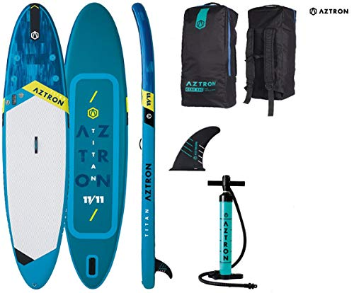 Aztron Titan 11.11 Inflatable SUP Stand up Paddle Board mit Power Carbon 70 Paddel 363x80x15cm