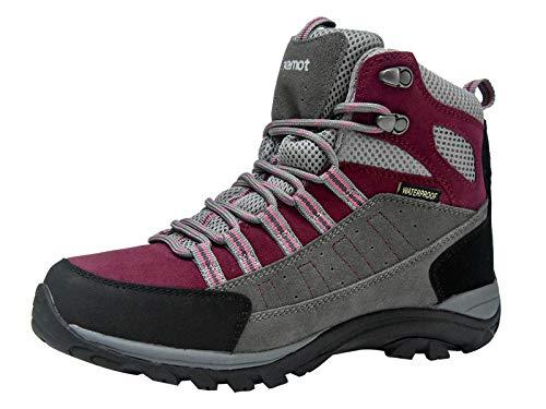 riemot Herren Damen Wanderschuhe Wasserdicht Trekking- & Wanderstiefel Leicht Outdoorschuhe Grau Violett Gr.41 EU