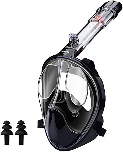 WANFEI Schnorchelmaske Vollmaske Tauchmaske,Neuestes Fortschrittliches Sicherheitsatmungssystem Vollgesichtsmaske mit 180° Sichtfeld und Kamerahaltung (Schwarz, L/XL)